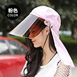 XING GUANG Electric Bike Riding Visor Summer UV Protective Sun Cap Neck Mask,Pink