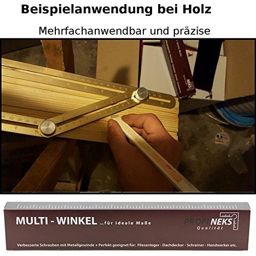 Wichtiger UPGRADE: Profineks Angleizer template tool goldener Winkelmesswerkzeug Angle-Izer Messlineal Winkelgeber Mehrwinkel ist perfekt geeignet als Winkelschablone für Holz Laminat Fliese