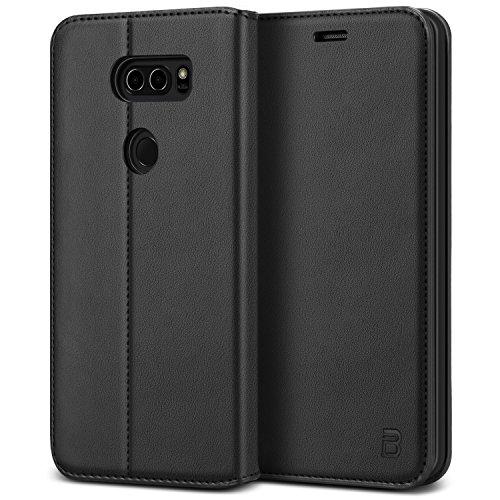 BEZ Hülle für LG V30 Hülle, Handyhülle Kompatibel für LG V30 Tasche, Case Schutzhüllen aus Klappetui mit Kreditkartenhaltern, Ständer, Magnetverschluss, Schwarz