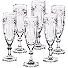 6 x Sektglas, Sektkelch, Champagnerglas MISS DESIREE, 130ml, transparent, Bleikristall Glas, 18,5 cm, moderner Style (GERMAN CRYSTAL powered by CRISTALICA)