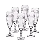 "6 x Sektglas, Sektkelch, Champagnerglas ""MISS DESIREE"", 130ml, transparent, Bleikristall Glas, 18,5 cm, moderner Style (GERMAN CRYSTAL powered by CRISTALICA)"
