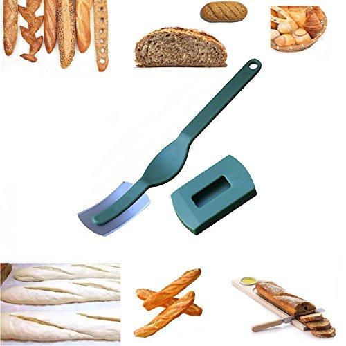 Energystation Praktisch Bäckermesser Gekrümmt Teigmesser zum Einschneiden von Baguette, Teig Für die perfekte Form des Brotes (grün)