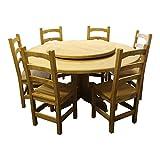 Holztisch Set rund massive Kiefernholz Ø160 cm mit drehbare Tischplatte Ø95 cm, inklusiv 6 massive Stühle