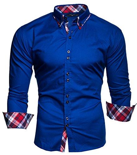 KAYHAN Herren Hemd Slim Fit Bügelleicht, Super Modern super Qualität Musterärmel Blau