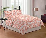 Bombay Dyeing Cynthia 120 TC Polycotton Double Bedsheet with 2 Pillow Covers - Orange