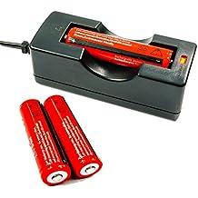 Angopower 2PCS 18650 Pilas recargables Li-Ion Batería Litio Recargable Baterías (paquete de 4pcs 3000mAh 3.7V 18650 Li - ion BRC bateria recargable para linterna LED antorcha,, no para Cigarrillos electrónicos ) & Cargador Carga para 1 Batería Pila Litio BRC 18650 bateria recargable ;Pilas 18650 ;Integrado con el tablero de protección IC, evitando la sobrecarga y la descarga, la protección de sus linternas o faros LED.son un poco mas largas que la medida 18650 normal