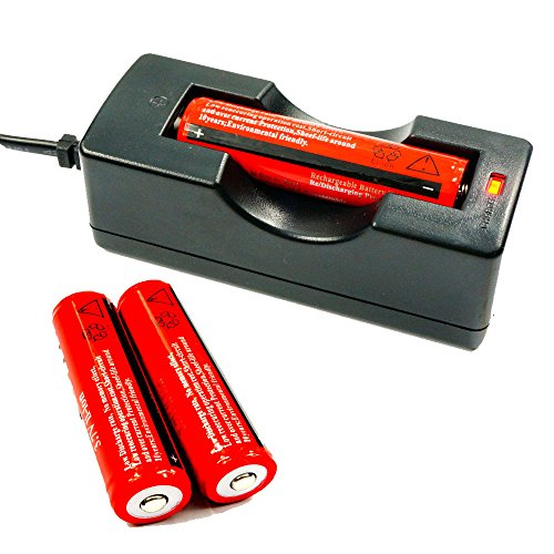 Angopower 2PCS 18650 Pilas Recargables Li-Ion Batería Baterías bateria Recargable para Linterna, no para Cigarrillos electrónicos & Cargador .Son 2mm mas largas Que la Medida 18650 Normal