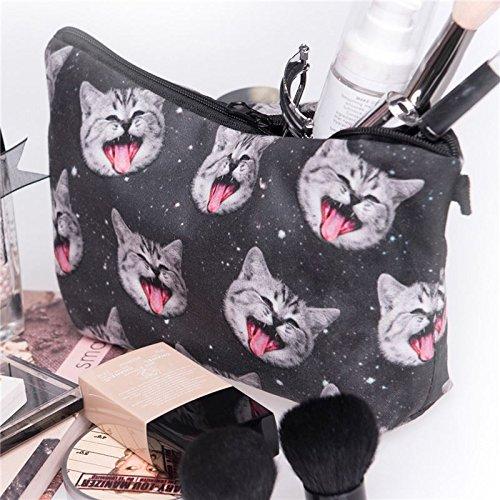Kukubird Divertimento Nuovo Animale Foto Modello Stampa Make-up Bag Con Sacchetto Di Polvere Di Kukubird Smile Cat
