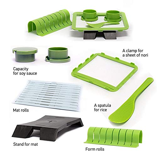 Sushiquik Super Easy Sushi Making Kit DIY Sushi Maker Tools Machine Set Rice Roller Mold Roller Cutter Kitchen Accessories - Green