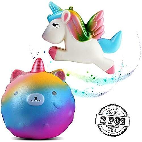 juguetes kawaii PROACC 2 piezas Unicornio Jumbo Squishy, Kawaii Unicornio Oso Princesa Volador Caballo Slow Rising Exprimir Juguete, Perfumado Descompresión Divertido Juguete para Niños Adultos Regalo