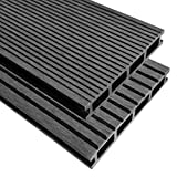 Festnight 60 x WPC Decking Tiles with Accessories for Garden Terrace ,20 m² Water Resistant Non Fading Black