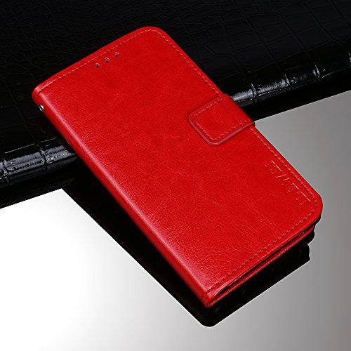Ulefone S7 Funda Faux Cuero Billetera Funda para Ulefone S7 con Stand Funci  n Rojo