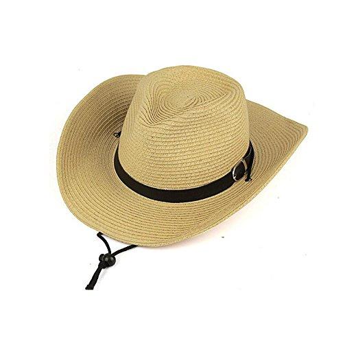 Herren Stroh Cowboy Breite Krempe Woven Hat Sommer (creme weiß), Herren, Beiger (Herren-stroh-hüte Cowboy-hut)