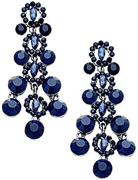 Schmuckanthony Glamour Lange Ohrringe Ohrstecker Kristall Dunkelblau Blau 8,2 cm Lang