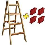 Bockleiter Massivholz 2x4 Stufen 48AW204