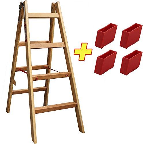 Bockleiter Massivholz 2x4 Stufen 48AW204 + 4 x Kunststofffüße