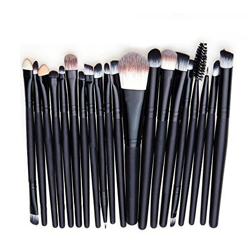 Contever® Kit de 20 Pcs Pinceaux maquillage Professionnel Noir Make Up Brush Poudre Fondation Fard à paupières Eyeliner Lip Outil Pinceau