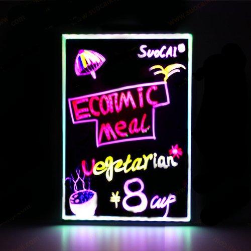 Fluoreszierende Marker Stifte LED Schreibtafel beleuchtet radierbar Neon-LED-Nachricht Menü Zeichen SMD50504060cm Acryl Panel–Schwarz