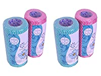 Origami Non-woven Reusable & Washable Kitchen Wipes - 4 Rolls - 80 Wipes Per Roll (Total 320 Wipes)
