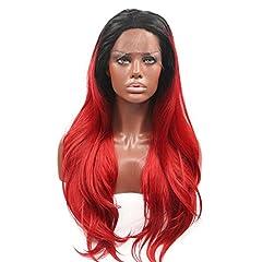 Idea Regalo - Ntaural Wave Black Roots ombre sintetico rosso pizzo anteriore parrucche per Balck donne ondulato rosso rubino ombre Long Heat Resistant Fiber Hair for party 61cm parrucca piena di ricambio