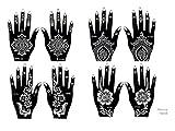 8 Feuille Mehndi Tatouage Pochoir pour la main Mehndi Tatouages au henné -...