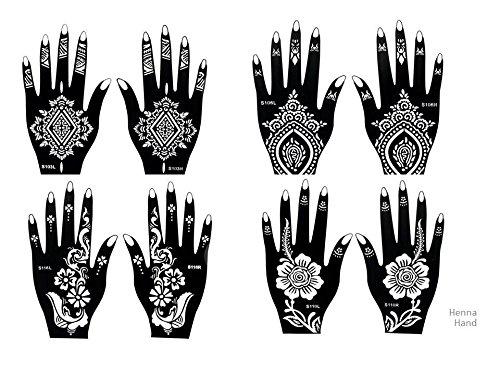 8 Feuille Mehndi Tatouage Pochoir pour la main Mehndi Tatouages au henné - à usage unique - pour tatouage au henné, tatouage paillettes et aérographe tatouage