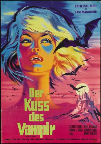 The Kiss of the Vampire Plakat Movie Poster (27 x 40 Inches - 69cm x 102cm) (1963) German