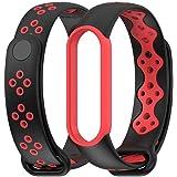 MEEFIX Wrist Strap TPU Bracelet Sport Loop Replacement Wristband for Xiaomi Mi Band 5 (Black-red)