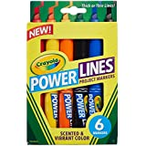 Crayola Power Lines Washable Project Markers, Multi Color (6 Counts)