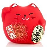 Kleine japanische Winkekatze in rot, 5,0 cm
