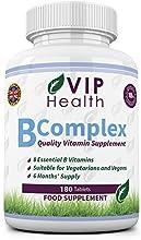 Vitamina B Compleja 180 Comprimidos (6 Meses de Suministro) por VIP Health - Todas las Ocho Vitaminas B en un Comprimido B1, B2, B3, B5, B6, B12, Ácido Fólico y Biotina Complex / Complejo