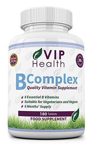 Complexe Vitamine B 180 Comprimés (6 Mois d'Approvisionnement) par VIP Health - Les Huit Vitamines B dans un Comprimé B1, B2, B3, B5, B6, B12, l'Acide Folique et Biotine le B Complex