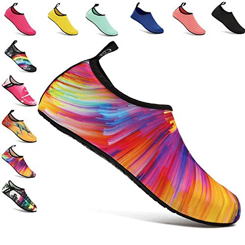 Water Sports Shoes Unisex Barefoot Quick-Dry Aqua Yoga Socks Home Slipper Beach Shoes for Swimming Surfing Diving Boating Walking (UK5-6(EU38-39), Colorful)