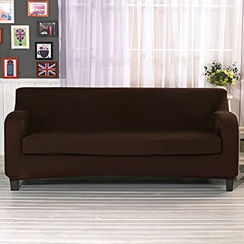 Stretch Sofa Covers Set 2 Pieces Elastic Fabric Settee Slipcover Couch Slip Protector Chocolate 3 Seater