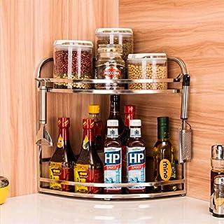Aevel Edelstahl-Eckregal mit 2 Etagen, Küchenregal mit Reling und Haken, rostfrei, zur Aufbewahrung von Gewürzen und Kräutern