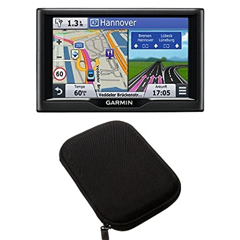 Garmin nüvi 57LMT Navigationsgerät und AmazonBasics Hartschalenetui für 5-Zoll-Navigationsgeräte, schwarz