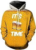 TDOLAH Herren Slim Fit Kapuzenpullover 3D Druck Sweatshirt Pullover (Größe L / XL, Bier)