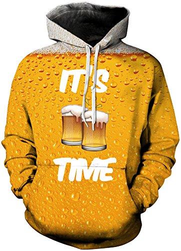 TDOLAH Herren 3D Druck Kapuzenpullover Cartoon Sweatshirt Langarm Top Shirt Herbst Spaß Hoodie (L / XL (Brustumfang: 114-134CM), Bier) (Hoodie Bier)