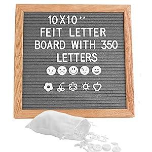 Grau Letter Board aus Eiche und Filz 10×10 Zoll Quadratisch Buchstabentafel mit 350 Buchstaben Staffelei und Beutel Buchstaben Tafel Holz Buchstabenbrett Rillentafel Memotafel mit Metallhaken