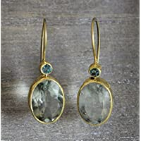Emerald and Green Amethyst Prasiolite Gold Plated 925 Sterling Silver Earwires Earrings