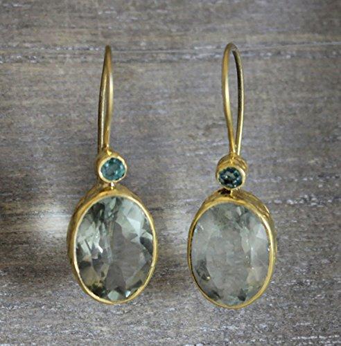 Smaragd und grüne Amethyst Prasiolite Gold Plated 925 Sterling Silber Ohrhaken Ohrringe