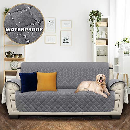 Utopia bedding copridivano reversibile - resistente allo sporco - protezione per mobili per animali domestici e bambini (3 posti, grigio)[non adatto a divani in pelle - no]