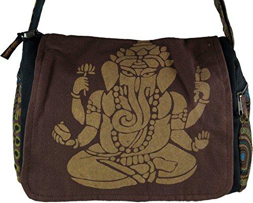 Guru-Shop Schultertasche, Hippie Tasche, Goa Tasche Ganesha - Grün, Herren/Damen, Baumwolle, 23x28x12 cm, Alternative Umhängetasche, Handtasche aus Stoff Braun