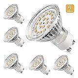 LEDGLE 6er GU10 LED Leuchtmittel, entspricht 60 W-Halogen Leuchtmittel, MR16 3,5 W, 350lm, warmweiß, 3000 K, 120 ° Abstrahlwinkel, Einbauleuchte, Track Beleuchtung