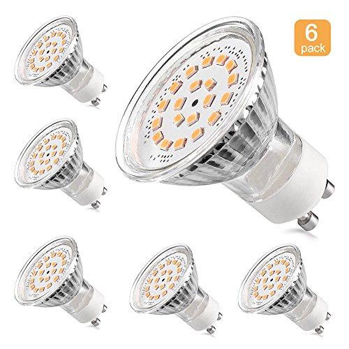 LEDGLE [Lot de 6] 3.6W Ampoules LED GU10 Ampoules Halogènes 60W équivalent 350Lumens Angle de faisceau 120 degrés 3000K -Blanc Chaud