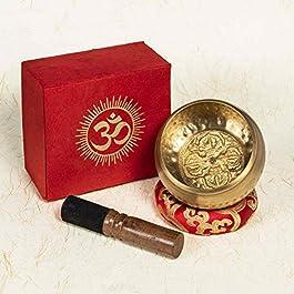 TARORO Campana Tibetana Armonica 7 Metalli 12 cm Originale del Nepal Antica Fatta a Mano Ottimo Suono Set Nuovo Cuscino…