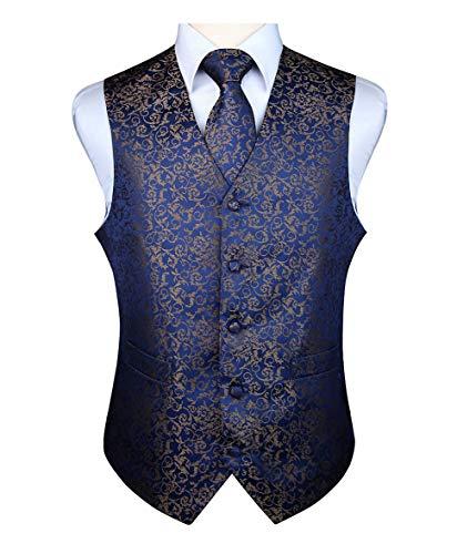ENLISION Herren Floral Weste Krawatte Einstecktuch Taschentuch Jacquard Weste Anzug Set