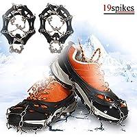 TBoonor Schuhspikes Schuhkrallen mit 19 Zähnen, Silikon Schneeketten Steigeisen mit Edelstahlspikes für High Altitude Wandern EIS Schnee