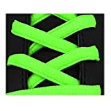 Lacci per calzature sportive, ovali, elevata qualità, 125 cm (verde fluorescente)