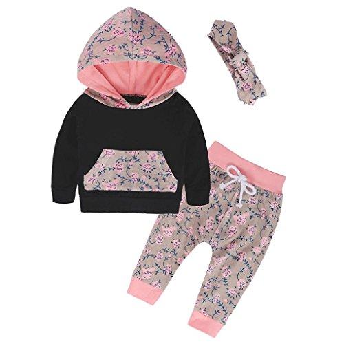 URSING 3PC Neugeborenes Infant Baby Mädchen Kleider Set Blumig Langarm Mit Kapuze Sweatshirt Tops + Blumen Hosen + Netter Bogen Stirnband Outfit Dreiteiligen Anzug (Blumig, 12-18monat)
